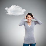 Woman is in panic. Grey background with cloud Royalty Free Stock Photography