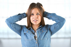 Woman in Panic With Hands on Head Royalty Free Stock Images