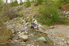 A woman panning for gold in northern bc Royalty Free Stock Photography