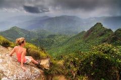 Woman panorama El Yunque Stock Photo