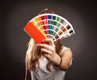 Woman with pantone Stock Photos