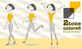 Woman Pants style In Smart form walk Run Jump Royalty Free Stock Photos