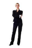 Woman in pantsuit. Beautiful blond woman in business pantsuit on white background Stock Images