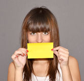 Woman with paper Royalty Free Stock Images