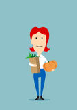 Woman with paper bag full of groceries Royalty Free Stock Photo