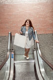 Woman with paper bag going on escalator at shopping mall Stock Photography