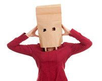 Woman in paper bag on head Royalty Free Stock Image