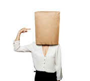 Woman with paper bag on the head Royalty Free Stock Photos