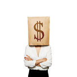 Woman with paper bag on her head. Businesswoman with paper bag on her head. isolated on white background royalty free stock photo