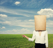 Woman with paper bag over green field Royalty Free Stock Images