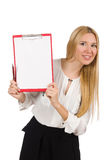Woman with paper binder isolated Stock Images