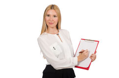 Woman with paper binder isolated Stock Photo