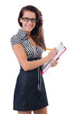 Woman with paper binder isolated Royalty Free Stock Photo