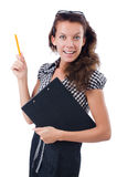 Woman with paper binder isolated Stock Photography