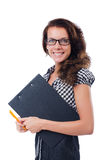 Woman with paper binder isolated Royalty Free Stock Photos