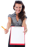 Woman with paper binder isolated Royalty Free Stock Images