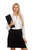 Woman with paper binder isolated Royalty Free Stock Image