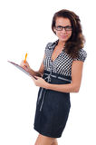Woman with paper binder isolated Royalty Free Stock Photography