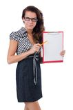 Woman with paper binder Royalty Free Stock Photos