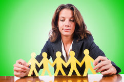 Woman with paper cut people Royalty Free Stock Image