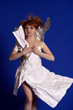 Woman in a paper dress Stock Photo