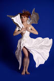 Woman in a paper dress stock image