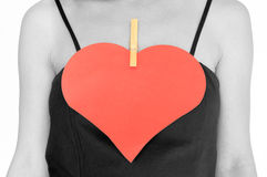 Woman with paper heart, isolated Royalty Free Stock Images