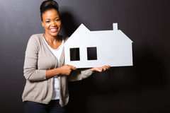 Woman paper house Stock Images