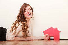 Woman paper house. Housing real estate concept Royalty Free Stock Photography