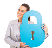 Woman paper lock Royalty Free Stock Image