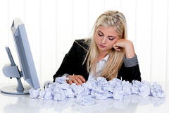 Woman with paper looks for ideas royalty free stock photography