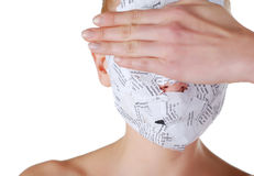 Woman in paper mask. Hiding her eyes by the hand Stock Images