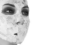 Woman in paper mask. Face of a young woman in paper mask Stock Images