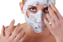 Woman in paper mask Royalty Free Stock Image