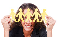 Woman with paper  people Stock Photography