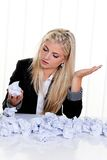 Woman with paper searches for ideas Stock Images
