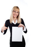 Woman with paper on a white Stock Image