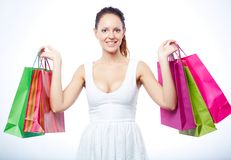 Woman with paperbags Royalty Free Stock Image