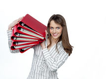 Woman with papers Royalty Free Stock Image