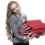 Woman with papers Stock Images