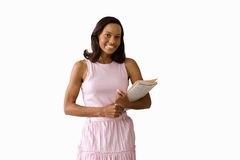 Woman with paperwork, smiling, portrait, cut out Royalty Free Stock Photo