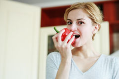 Woman with paprika Royalty Free Stock Photos