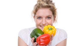 Woman with paprika Royalty Free Stock Photography