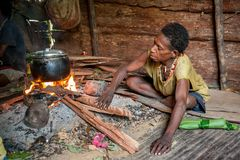 The woman from a Papuan tribe korowai cooks food. Korowai Kombai ( Kolufo). Stock Images