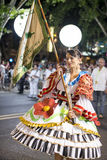 Woman at the parade of popular marches Marchas Populares during the Saint Anthony Feast at the Liberdade Avenue Avenida da Libe Stock Photography