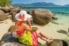 Woman on Paradise Beach Stock Images