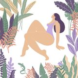 Woman in Paradise. Body positive. Tropic royalty free illustration
