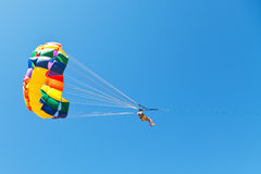 Woman parasailing on parachute in blue sky Stock Image