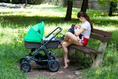 Woman parent is sitting on wooden bench in the park, holding and breastfeeding baby, next to stroller, sunny day in public park royalty free stock images