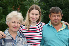 Woman with parents Royalty Free Stock Images